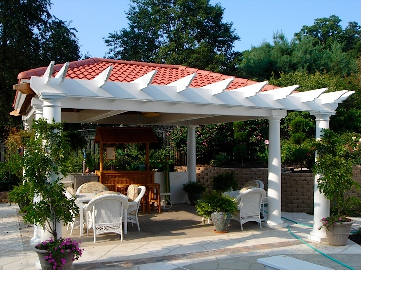 Milfrord pool side pergola with spanish tile