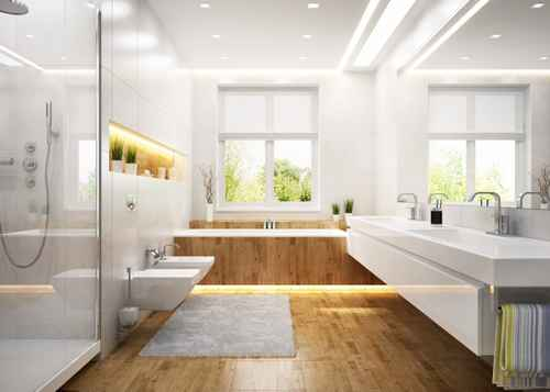 modern white master bathroom remodel